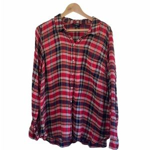 Lucky Brand Red Plaid button up oversized Blouse